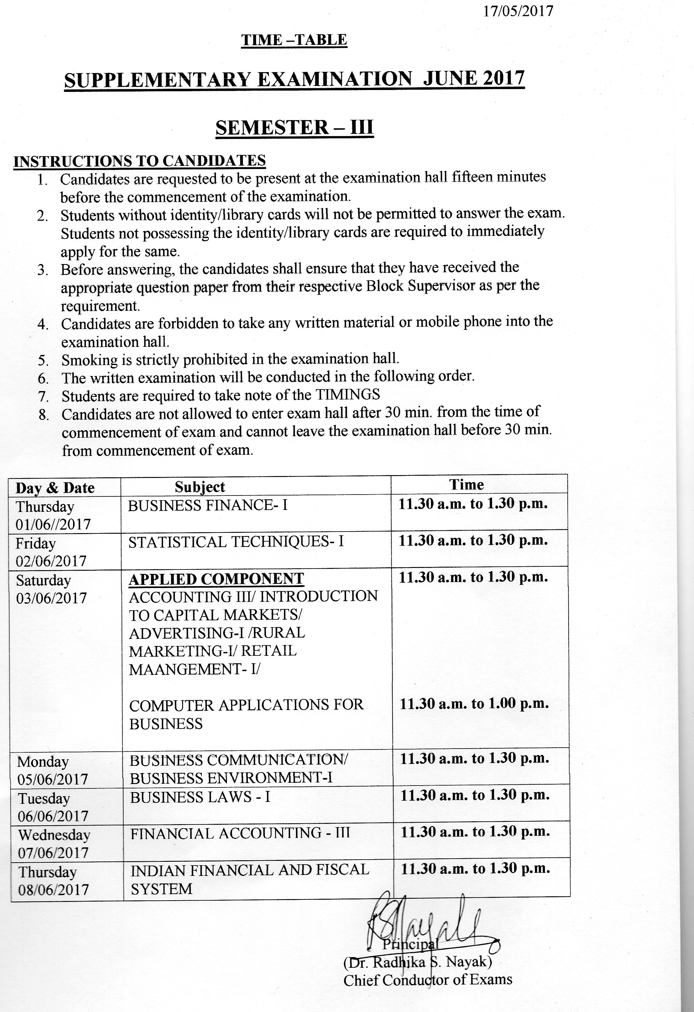 Supplementary Examination June 2017 Time Table - S  S  Dempo
